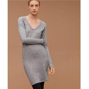 Aritzia Community Adelphi Small Grey V-Neck Bodycon Long Sleeve Sweater Dress